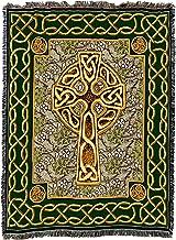Pure Country Weavers | Irish Celtic Cross Boho Throw Blanket with Fringe Cotton USA 72x54