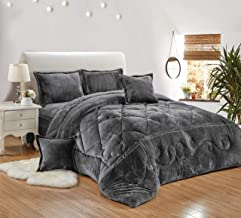 Sleep Night Winter fur Comforter 6 Pieces Set, King Size, Gery, BJX-007