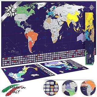 Mappa del mondo da grattare XL 82x44cm + mappe di Italia e Europa 33x23cm - Made in Italy - Idea regalo - Blu/Argento