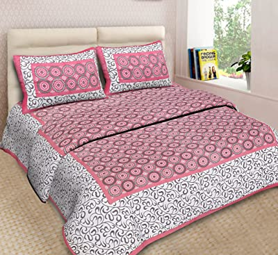 PURE COMFORT King Size Double Bedsheet with 2 Pillow Covers-King Size