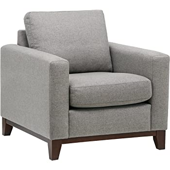 "Amazon Brand – Rivet North End Wood Accent Living Room Arm Chair, 38""W, Grey Weave"