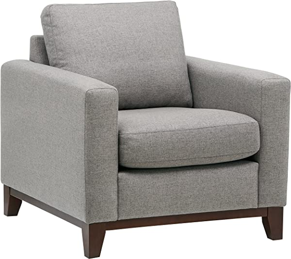 Rivet North End Wood Accent Living Room Arm Chair 38 W Grey Weave