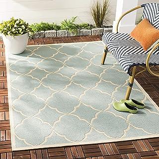 SAFAVIEH Tapis Multi-Usage intérieur/extérieur en polypropylène tissé Aqua/crème 120 x 180 cm