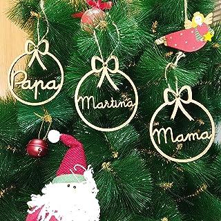 Adorno navidad árbol bola de madera personalizadas con cordel para colgar, Ornamento Decoraciones colgantes de Navidad Chr...