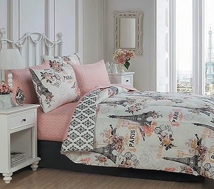 Geneva Home Fashion Cherie Juego de cobertor de 8 Piezas, tamaño King, Color Rubor, Coral, Queen, 1
