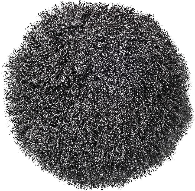 Bloomingville Home Accessories Dark Grey Round Mongolian Lamb Fur Pillow, 2 Piece