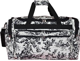 """World Traveler World Traveler 22"""" Duffle Bag - Red White Chevron, Flowers (white) - 81T22-500B"""