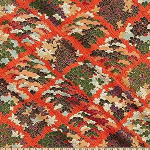 Quilt Gate 1000 Tsuru II Metallic Orange Fabric by the Yard