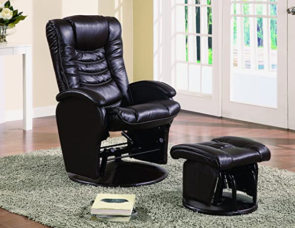 Glider Recliner Chair With Matching Ottoman Brown