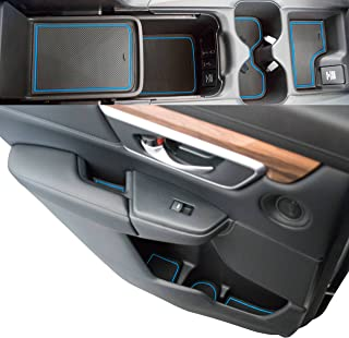 Custom Fit Cup, Door, Console Liner Accessories 2019 2018 2017 Honda CR-V CRV (Blue Trim)