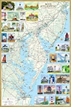 Mid-Atlantic Lighthouses: Illustrated Map & Guide Laminated Poster - New Jersey, Southeast Pennsylvania, Delaware, Maryland & Virginia