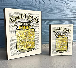 Vintage Bible Verse Scripture Art Print on Wooden Block - Proverbs 16:24 -Kind Words Are Like Honey - Mason Jar Bees- Christian Home & Wall Decor Sign