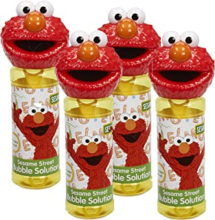Little Kids 99925E Sesame Street Elmo 8oz Bubble Head with Wand - 4PC Set Novelty