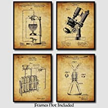 Science Gifts - Original Science Lab Equipment Patent Prints - Set Of 4 (Four) - 8x10 Unframed - Perfect Gift For Chemists, College Students, And Science Teachers