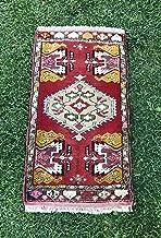 Vintage Handmade Turkish Anatolian Rug, Red Pink Oushak Rug, Door Mat, Floor Mat, Small Persian Rug, 1'8