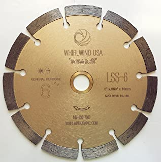 Whirlwind USA LSS 6-Inch Dry or Wet Cutting General Purpose Power Saw Segmented Diamond Blades for Concrete Stone Brick Masonry (Factory Direct Sale) (6