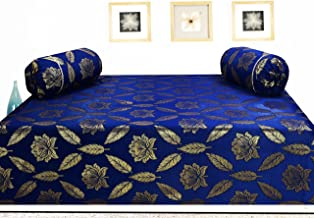 Milan Include 1 Single Size Polycotton and Silk Bedsheet with 2 Bolster Covers (Navy and Gold) -Set of 3 Pieces