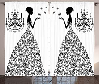 Ambesonne Black and White Curtains, Madame Butterfly Black Chandelier Woman Silhouette Princess Wedding Gown, Living Room Bedroom Window Drapes 2 Panel Set, 108