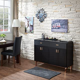 ModHaus Living Contemporary Wood Sideboard Buffet Table with Metal Legs Wine Holder 2 Drawers and 2 Cabinets - Includes Pen (Black/Rose Gold)