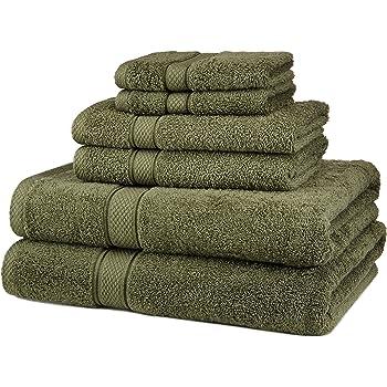 Juego de Toallas de algodón Egipcio de Pinzon, de 725 g, 100% algodón Felpa algodón, Verde Musgo, 6-Piece: Amazon.es: Hogar