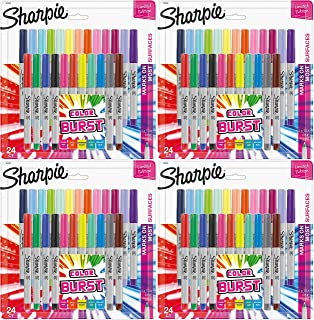 Sharpie 1949558 Color Burst Permanent Markers, Ultra Fine Point, Assorted Colors, 24-Count - 4 Pack