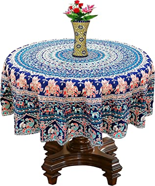 RHF Round Tablecloth 100% Cotton Traditional Desgne Dining Round Table Cover- Multicolor