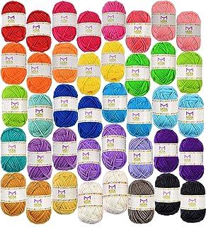 Pack essentiel de pelotes de laine bonbon - 40 pelotes de laine en acrylique – Assortiment de couleurs – Idéal pour tout p...