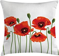 Ambesonne Floral Throw Pillow Cushion Cover, Poppies of Spring Season Pastoral Flowers Botany Bouquet Field Nature Theme Art, Decorative Square Accent Pillow Case, 24 X 24, Green Orange