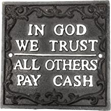 Miller in God We Trust, All Others Pay Cash Cast Iron Wall Plaque, 5.875