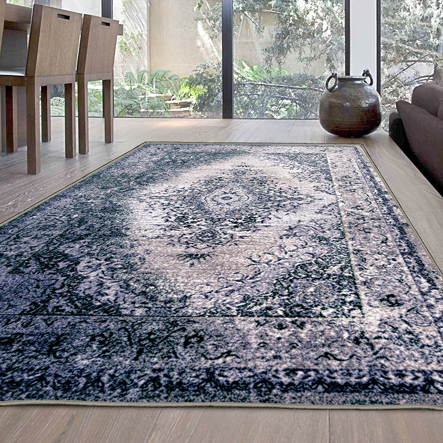 Superior's Designer Non-slip Eldwin Area Rug; Digitally Printed, Low Maintenance, Affordable and Fashionable, Grey - 8' x 10'