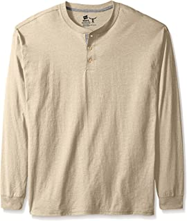 Men's Long-Sleeve Beefy Henley Shirt, Pebble Stone Cross...