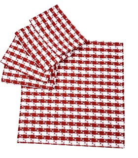 Dinner Oversized Napkins, 100% Cotton Thick Quality Heavy Extra Dobby Weave Gingham Buffalo Check Plaid Napkin, Set Of 6 PACK - 20x20 Inch, Spicy Red & White, Suitable For Dinner, Events & Weddings