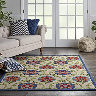 Nourison Aloha Blue Multicolor Easy-Care Indoor-Outdoor Rug 5'3