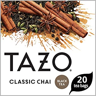 Tazo Black tea for a delightful cup of chai Classic Chai serve hot or iced 20 count, Pack of 6 (Packaging may vary)