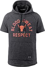Under Armour Men's Project Rock Short Sleeve Hoodie Respect Sweatshirt (Black, Small)