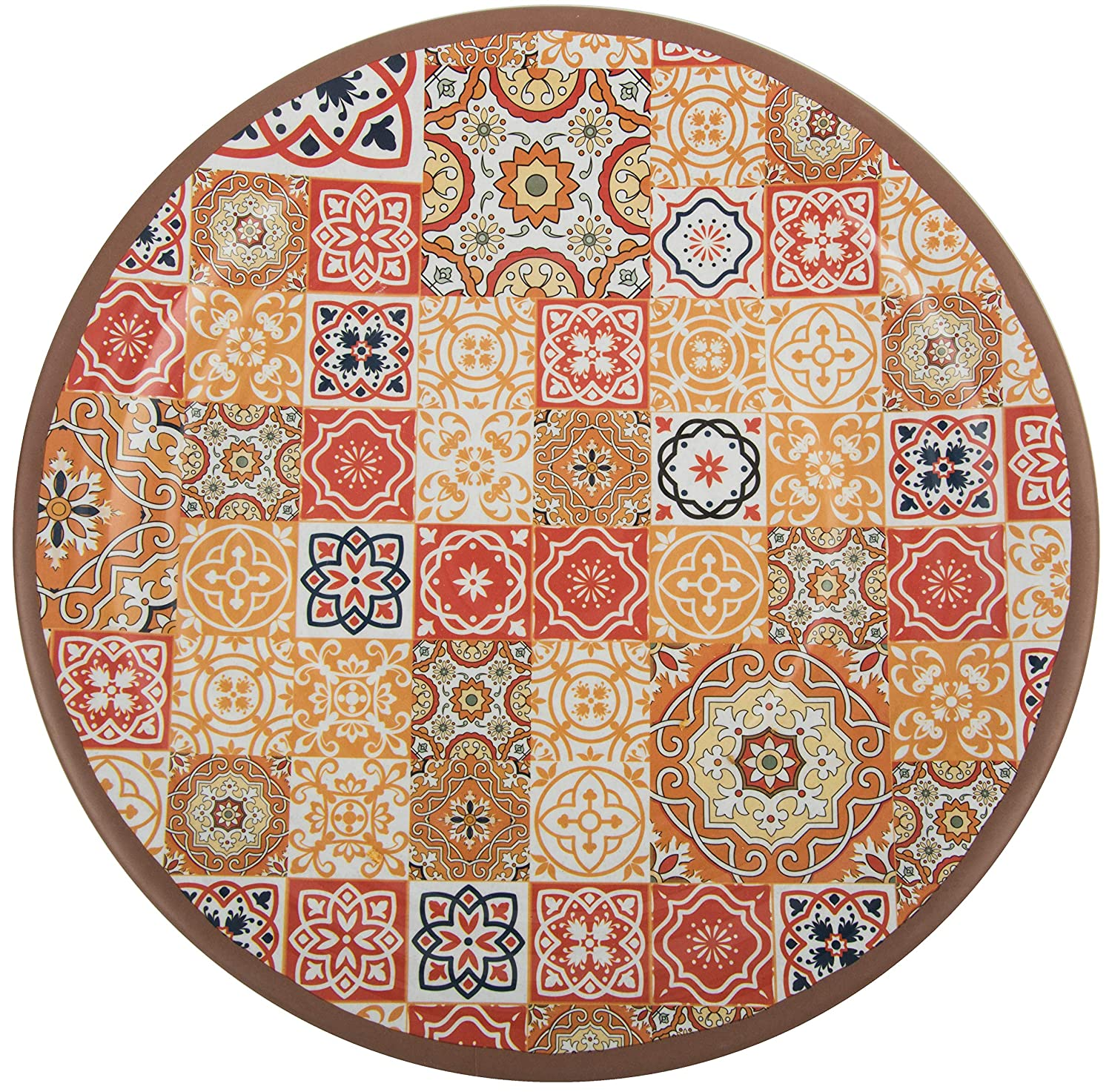 Melange 6-Piece 100/% Melamine Dinner Plate Set Moroccan Tiles | Shatter-Proof and Chip-Resistant Melamine Dinner Plates Color: Multicolor