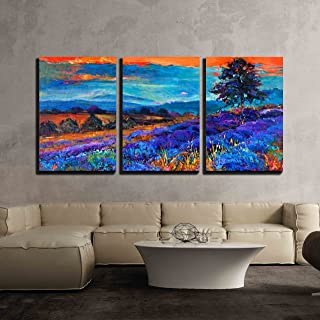 wall26 - 3 Piece Canvas Wall Art - Original Oil Painting of Lavender Fields on Canvas Sunset Landscape - Modern Home Decor Stretched and Framed Ready to Hang - 16