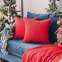 "HOME BRILLIANT Solid Decorative Accent Pillow Case Striped Corduroy Plush Velvet Cushion Cover for Sofa 18"" X 18"", Set of ..."