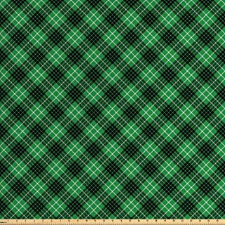 Ambesonne Plaid Fabric by The Yard, Diagonal Tartan Vibrant Green Color Geometrical Design with Stripes and Checks, Decorative Fabric for Upholstery and Home Accents, 1 Yard, Green Black