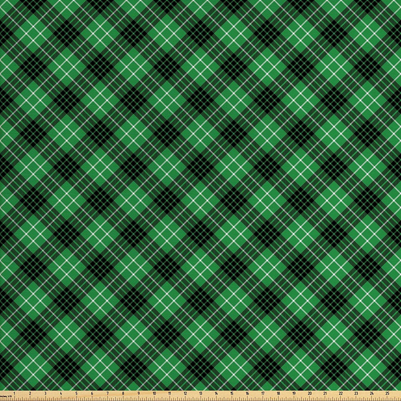 Ambesonne Plaid Fabric by The Yard, Diagonal Tartan Vibrant Green Color Geometrical Design with Stripes and Checks, Decorative Fabric for Upholstery and Home Accents, 1 Yard, Green Black White
