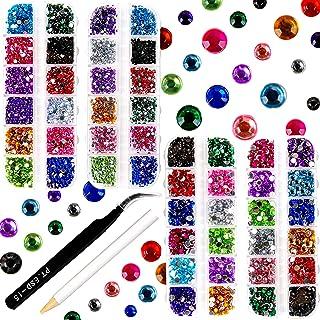 PROLOSO 9000 Pcs Hotfix Rhinestones Flatback Round Glass Gems Crystal Stones Iron On Rhinestones 3 Sizes 12 Colors with 1 ...