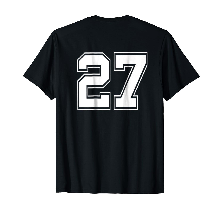 Number 27 Football Baseball Soccer Uniform T Shirt