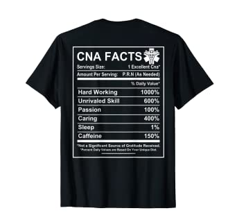 f1a16b7fc Image Unavailable. Image not available for. Color: CNA Facts - Funny CNA  saying T-shirt - CNA gifts