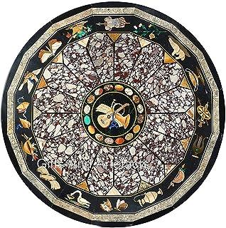 Table de salle à manger en marbre noir avec incrustations de pierres semi-précieuses - Table de travail ronde pour la mais...