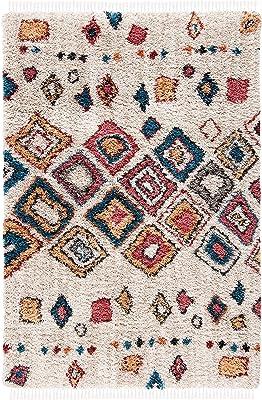 Safavieh Morocco Collection MRC992A Moroccan Boho Tribal Area Rug, 4' x 6', Ivory / Multi
