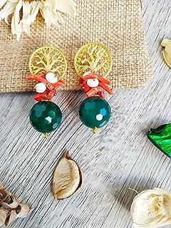 Orecchini con bellissima Agata Verde sfaccettata