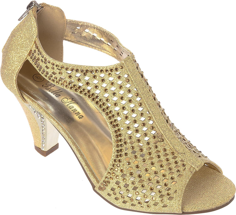 Bello Hanna kimi30gold Women Evening Sandal Rhinestone Dress-shoes