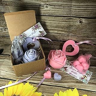 Kit regalo Festa della Mamma: 1 candela a forma di rosa, 1 profumatore per armadio a forma di cuore, 6 tart per bruciaesse...