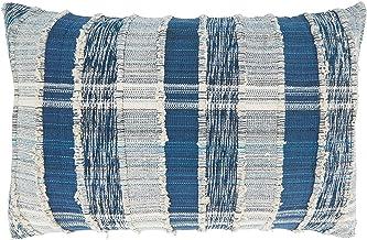 غطاء وسادة قطني منسوج مخطط من مجموعة لايف ستايل ماكسيموس من سارو، مقاس 40.64 سم × 60.96 سم، باللون الأزرق