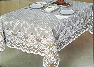 AdonisUSA Veneza White and Ecru/Ivory Lace Tablecloth, Floral Pattern and Shapes. Perfect for Wedding, Banquet,Party Table (60